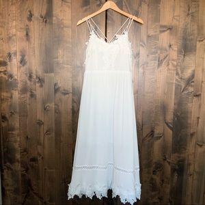 White Empire Waist Sun Dress Spaghetti Straps L28